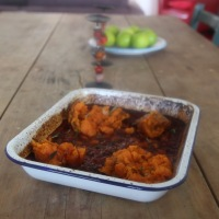 Jamie Oliver's BBQ Baked Beans with Smashed Sweet Potatoes