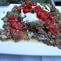 Ottolenghi's Lentils with Roast Eggplant, Cherry Tomatoes and Yoghurt