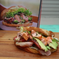 Hot Smoked Salmon Club Sandwich